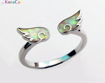 Angel Wing Ring - 925 Sterling Silver & White Fire Opal