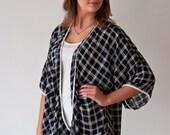 Kimono Chiffon Cardigan- Black and White