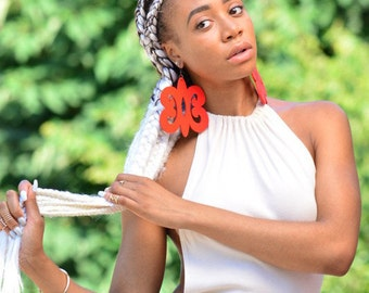 Hye Won Hye // Adinkra // Afrocentric // Natural Wood Hand Painted Earrings // African and Caribbean Inspired Jewelry