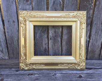 Gold Baroque 11x14 Picture Frame, Metallic GOLD, Vintage Chic,Glass and Backings ,Wedding Frame,wood frame,Photo Prop #SC (Los Angeles)