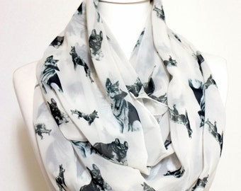 German Shepherd Pattern Infinity scarf, Circle Scarf, Loop Scarf, Scarves, Shawls, Spring - Fall - Winter - Summer fashion