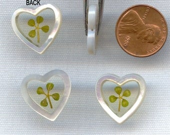 1 Vintage Genuine Real 4 Leaf Lucky Clover 18mm. Heart Mother of Pearl Resin 1/2 Drilled Bead Pendant  R486