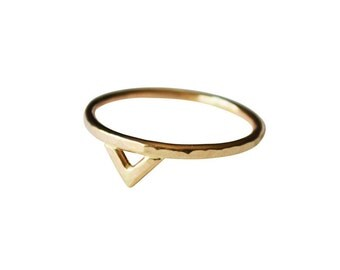 Mega Gold Spike Ring, Thin 14k Gold Ring, Simple Design Gold Ring, Geometric Ring, Gold Triangle Ring, Gold Filled Ring, Solid 14K Gold Ring