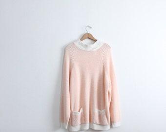 Pastel Pink Oversized 80s Pocket Sweater