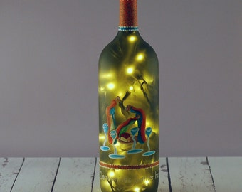 Hand painted wine bottle lamp
