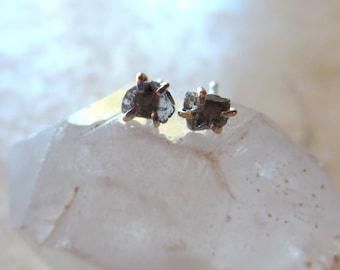 Diamond Slice Earrings, Black Diamond Earrings, Raw Diamond Earrings, Diamond Post Earrings, Rough Diamond Earrings, Natural Diamond Earring