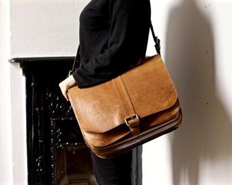 Large Vintage Leather Messenger Bag - Cross Body Laptop Bag or Satchel