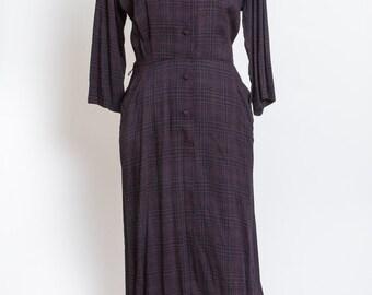 Purple and Navy Plaid Vintage Dress