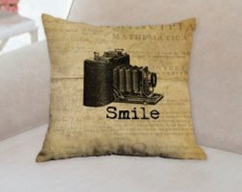 Smile Rustic Decorative Pillow