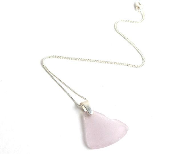 "Rhode Island Sun Purple Lavender Sea Glass on a Plain 925 Sterling Silver Pinch Bail with a 1mm Diamond Cut Bead Chain Necklace 16""-24"""
