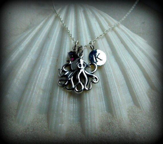 Sterling silver octopus necklace, ocean theme jewelry,  baby octopus jewelry, personalized jewelry
