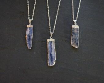 Men's Necklace // Raw Kyanite // Blue Kyanite Pendant // Kyanite Pendant // Blue Kyanite // Men's Jewelry // Silver Kyanite // Mens Necklace