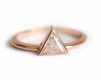 Rose Gold Engagement Ring, Rose Gold Trillion Diamond Ring, 0.5 Carat Trillion Diamond Ring, 18k Rose Gold Diamond Ring