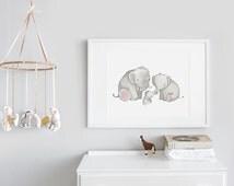 Large children's Art, UNFRAMED Big print for Kids, Extra large picture, Baby room, Safari theme decor, elephant poster, kid's illustration