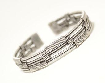 Mens Bracelet / Mens Cuff Bracelet Silver / Mens Jewelry / Wire Wrapped Bracelet / Wire Wrapped Jewelry Handmade / Mens Silver Bracelet