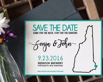 Layered Teal Save-the-Date State Map Brewery Wedding (Deposit)