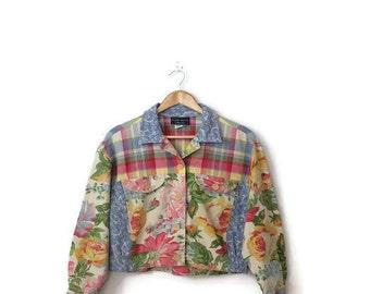 Vintage Floralx Plaid  Cotton  Button down Jacket from 90's*