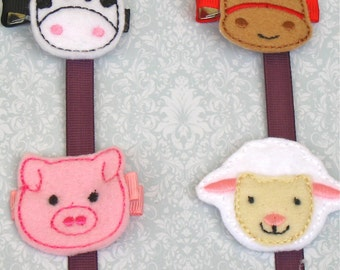 Farm Animals Embroidered Felt Hair Clip Set - FREE SHIPPING - Cow, Horse, Pig, Sheep Hair Clips - Farm Animals Party-Animal Felties-BowBravo
