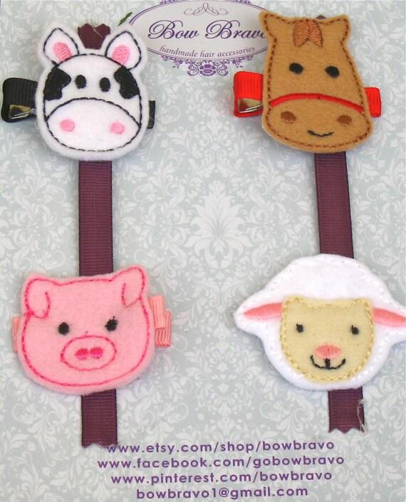 Farm animals embroidered felt hair clip set free shipping