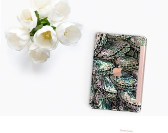 Platinum Edition Abalone Shell Medley with Rose Gold Smart Cover Hard Case for iPad Air 2, iPad mini 4 , iPad Pro , New iPad 9.7 2017