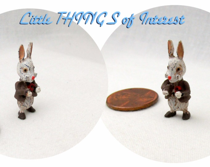 Miniature PETER RABBIT Sm Hand Painted Dollhouse Miniature 1:12 Scale Alice in Wonderland Easter Bunny