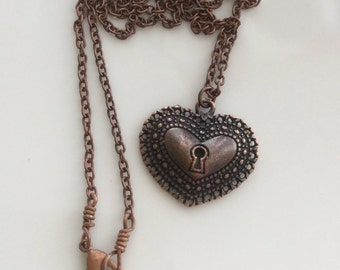 Copper Heart Necklace  Antiqued Copper Necklace  Bohemian Necklace  Heart Pendant Necklace  Gypsy Dangles