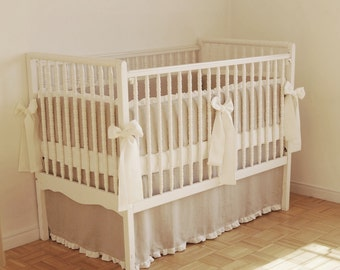 Linen crib  bedding - straight skirt  and  4 side bumper