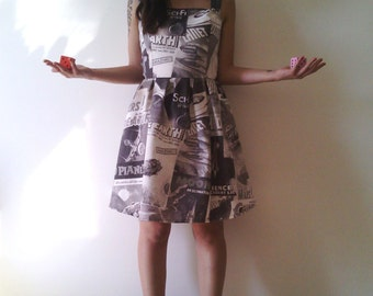 Sci Fi Printed Dress // 50's Space Theme Print // Classic Sci Fi Movies Retro Posters Printed Dress/ Made to Order.
