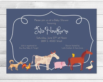 Blue Farm Animals Printable Baby Shower Invitation