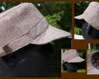 Custom Men Wool Hat   Choose Solid or Plaid, Herringbone or Houndstooth   Choose Primary & Secondary Color   Blank Ball Caps in Wool XS XXL