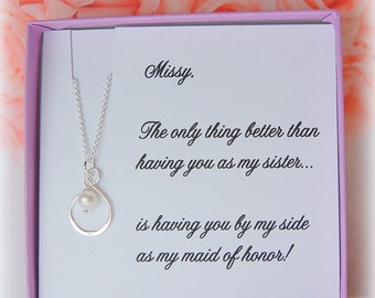 Asking SISTER to be Maid of Honor, Matron of Honor, Infinity necklace, asking sister to be in wedding, Matron of Honor