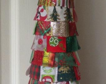 Christmas Poinsettia Ribbon Tree
