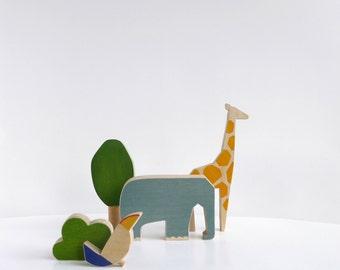 Wooden animals toy set, safari wooden toy animals