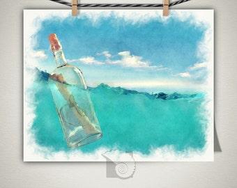 Message in a Bottle print, coastal wall art, ocean art, gifts under, gifts for her, coastal decor, vitaminsea, ocean print, salt life