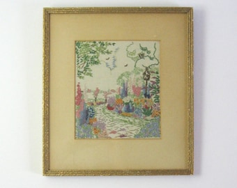Vintage Framed Embroidery Art - Flower Garden Landscape - Flower Wall Decor - Colorful Textile Art - French Knot Flower - Spring Home Decor