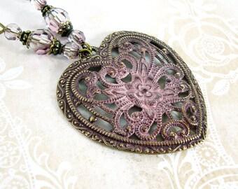 Antiqued Pink Patina Romantic Filigree Heart Necklace - Victorian Dusty Pink Wedding Vintage Style Jewelry - Swarovski Renaissance Heart
