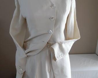 Vintage 1990s Ivory Linen Blend Rare Pant Suit by Emmanuelle Khanh, Paris