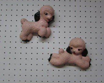 1940s Set of 2 Pink Lambs. Chalkware Wall Hangings.  Vintage Nursery. Baby Girl