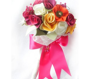 Fabric Wedding Bouquet, Cotton Anniversary Bridal Bouquet, Colourful Flower Bouquet, Second Anniversary, Fuchsia Pink Roses, Cotton Bouquet