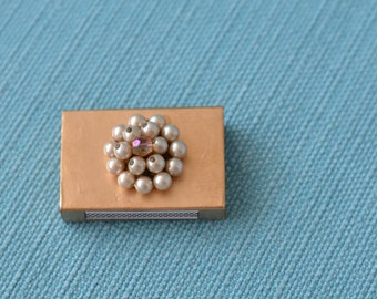 hand painted matchbox with upcycled vintage jewelry