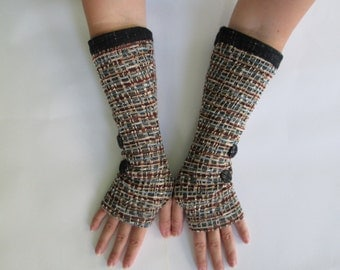 upcycled fingerless gloves Fingerless Mittens Armwarmers Recycled Wrist warmers Women Armwarmers wrist mits tissu recyclé skate mittens