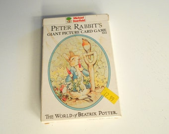 Vintage Beatrix Potter Child's Game Cards Peter Rabbit Cards Belgium Mgf Perfect Condition 36 Picture Cards Original Foreign Price Tag