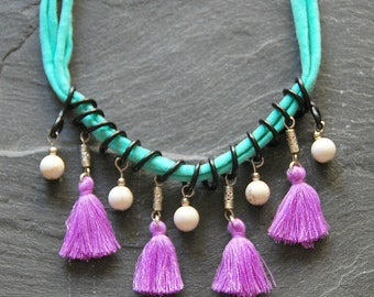 Textile bib necklace, Tassel and gemstone necklace, African statement necklace, Turquoise violet white black, Tribal jewelry, 1130-2