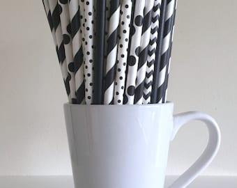 Black Paper Straws Black Striped, Chevron, Polka Dot, Solid Party Supplies Party Decor Bar Cart Cake Pop Sticks Mason Jar Straws Graduation