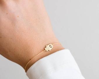 Hamsa Bracelet, Gold Tiny Hamsa Bracelet, Hand of Fatima Bracelet, Evil Eye, Delicate Thin Gold Bracelet by Layered and Long LB308