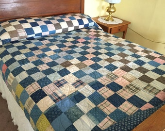 Chambray Blue Quilt, Vintage Patchwork Hand Quilted, Heavy Cotton Cream Brown Rustic Farm 72 x 87