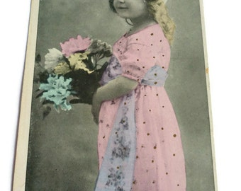 French Vintage Postcard . Antique French Photo Postcard Cute Little Girl with Flowers .