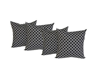 "Set of 4 - 17"" Black and White Geometric Hockley Print Decorative Throw Pillows ~ Indoor / Outdoor Fabric"
