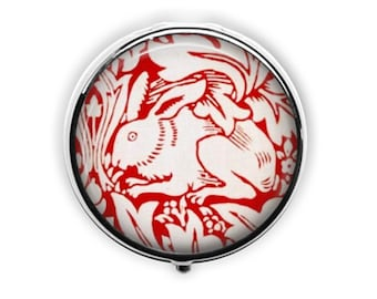 Rabbit pill case william morris pill box gift under 15 art deco red and white hare round travel medicine storage.
