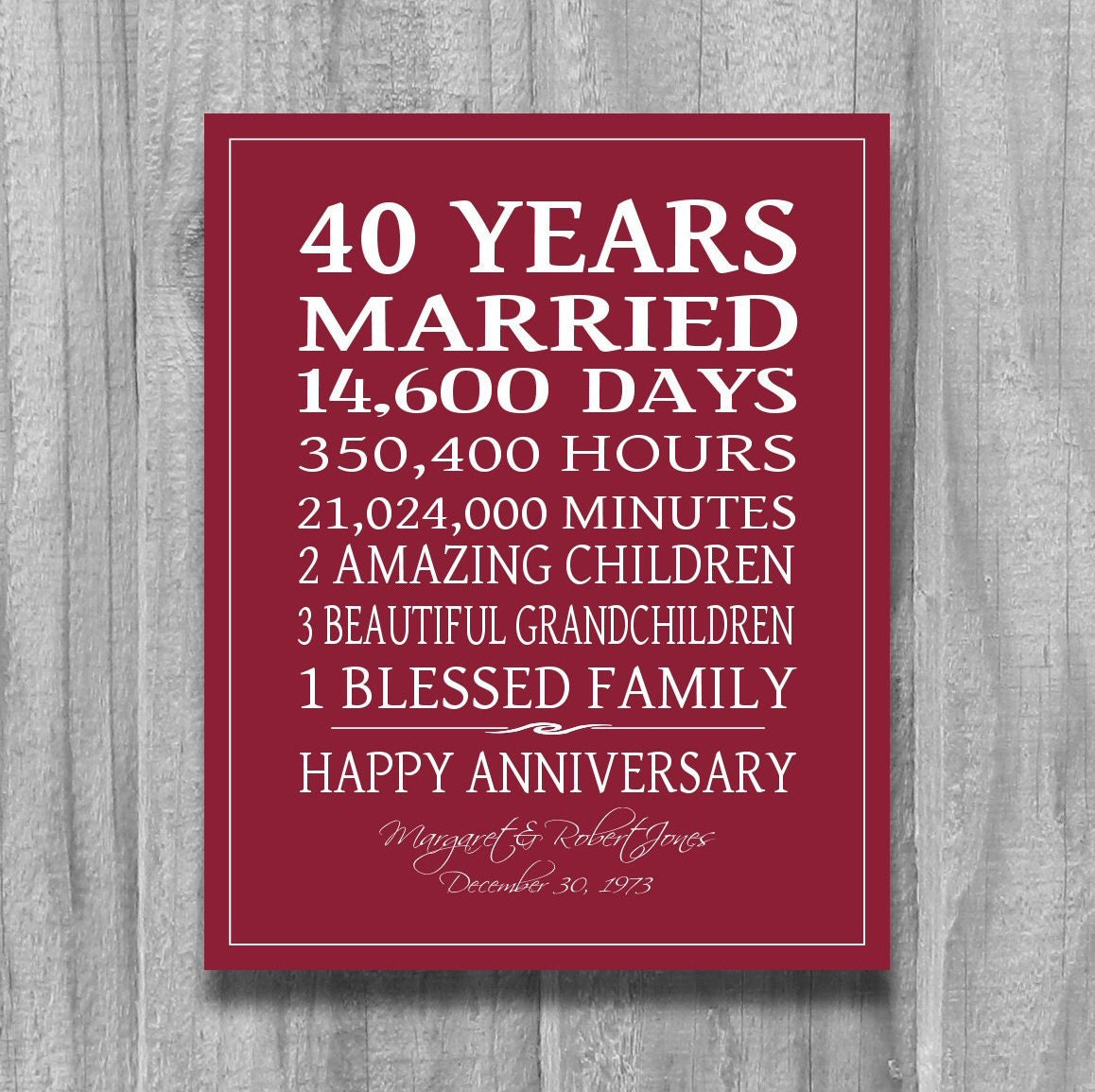 Ruby Wedding Gifts For Parents: 4Oth Anniversary Gift For Parents 40 Year Anniversary Ruby